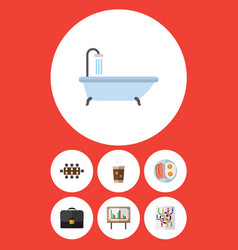 Flat icon oneday set of cappuccino briefcase vector