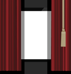 Red curtains to the theatre stage vector