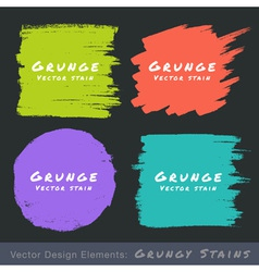 Set of hand drawn flat grunge stains on dark backg vector