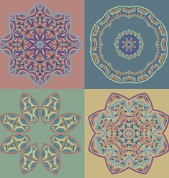 Set of circle patterns in oriental style vector