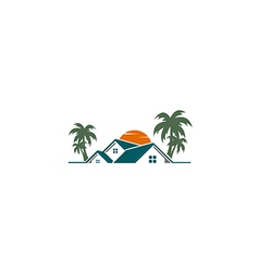 House villa resort palm tree logo vector
