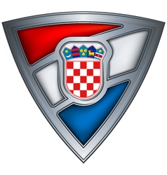 Steel shield with flag croatia vector