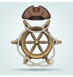 Steering wheel and sailor hat vector