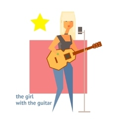 Girl with the guitar abstract figure vector