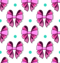 Seamless pattern cute cartoon bows vector