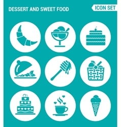 Set of round icons white dessert and sweet food vector