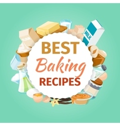 Baking background with food ingredients vector