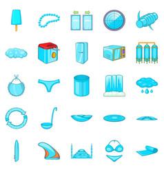 Beachwear icons set cartoon style vector