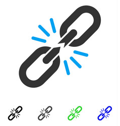 Break chain link flat icon vector