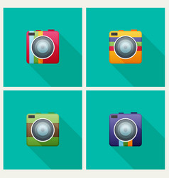 Camera flat icon set for web vector