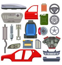 Car service parts mechanic repair flat vector