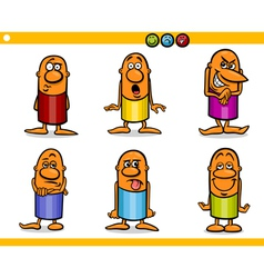 cartoon people characters emotions vector image vector image