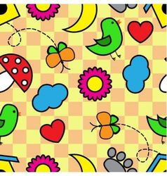 Cartoon seamless pattern with flora and fauna vector image vector image