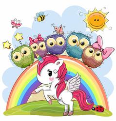 cartoon unicorn and five cute owls vector image vector image