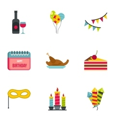 Children party icons set flat style vector
