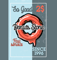 Color vintage donuts store banner vector