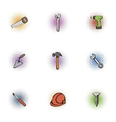 Construction icons set pop-art style vector image