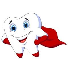 Cute cartoon superhero tooth posing vector