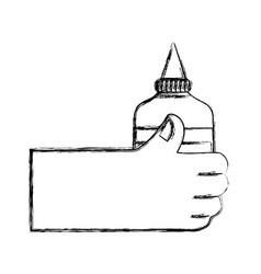 Figure hand with glue school tool to study vector