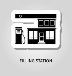 Filling station black building sticker vector
