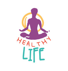 Healthy life logo colorful hand drawn vector