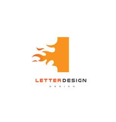 i letter flame logo design fire logo lettering vector image