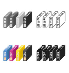 Ink cartridges in cartoon style isolated on white vector