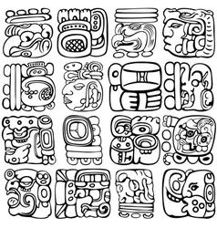 Mayan hieroglyphs vector image vector image
