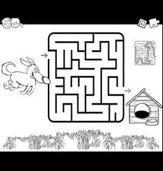 Maze with dog and kennel coloring page vector