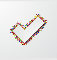 Modern vote mark with confetti on white vector