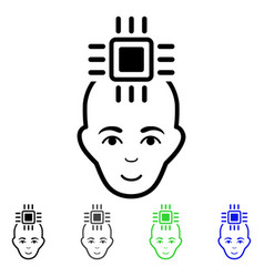 Neural computer interface flat icon vector