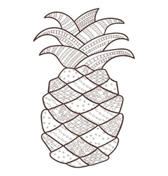 Pineapple adult coloring page whimsical line art vector