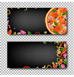 pizza banner set vector image vector image