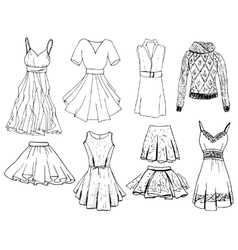 Set of casual woman clothes Objects on white vector image vector image