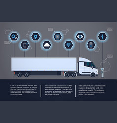 Set of infographic elements with modern semi truck vector