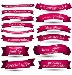 Set of magenta ribbons vector image vector image