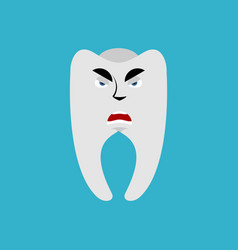 tooth angry emoji teeth grumpy emotion isolated vector image vector image