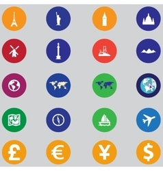 Tourist icons flat design vector