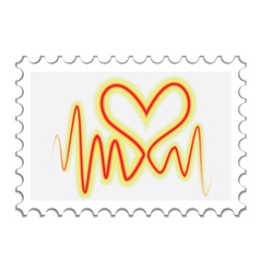 Valentines Day post stamp vector image vector image