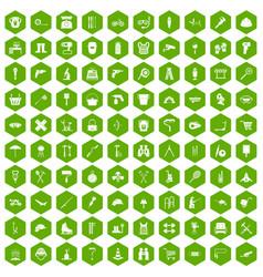 100 tackle icons hexagon green vector