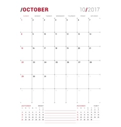 October 2017 print template monthly vector