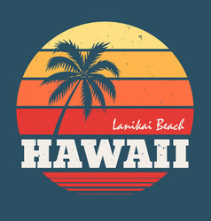 Hawaii lanikai beach tee print with palm tree vector