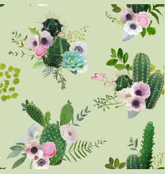 tropical summer cactus botanical background vector image