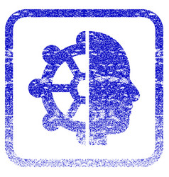 Intellect framed textured icon vector
