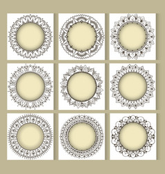 Mandala frames with eastern elements vector