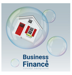 Finance concept background with housing bubble vector