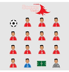 Soccer player icons with white background vector