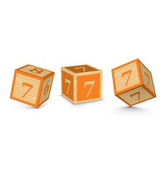 Number 7 wooden alphabet blocks vector