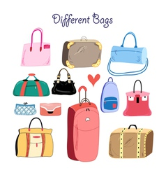 Set of different bags vector