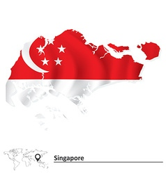 Map of singapore with flag vector